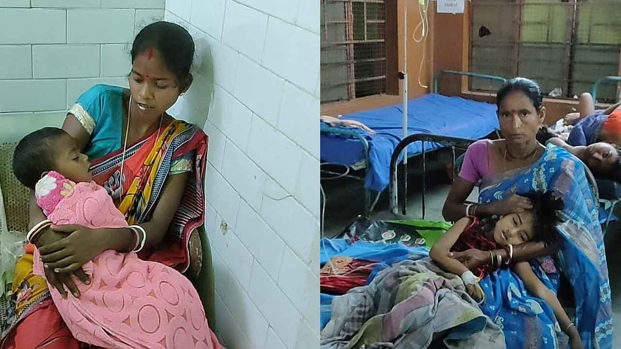 children are getting treatment at same bed due to lack of bed in Malda Hospital