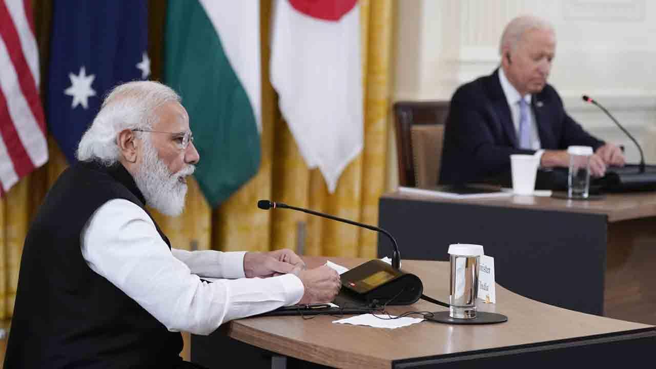 Indian Prime Minister Narendra Modi speaks during the Quad summit